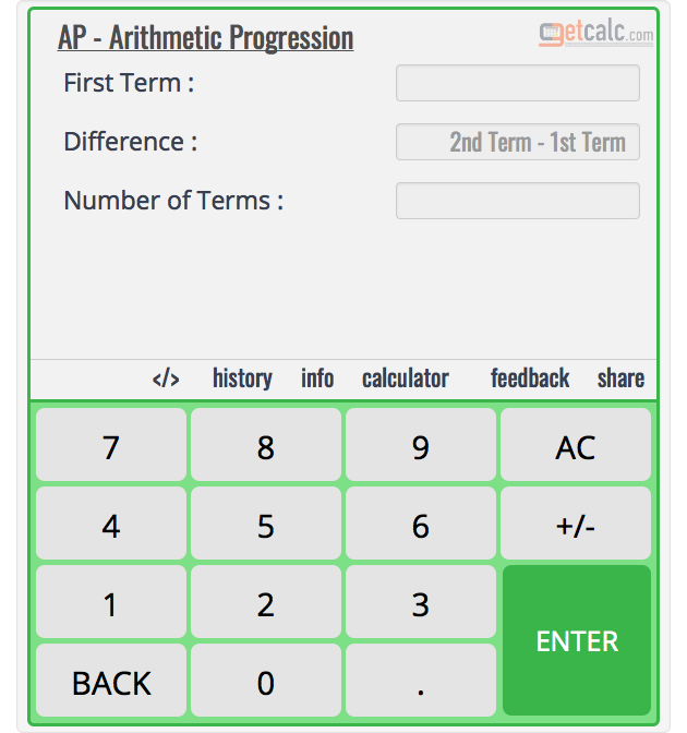 Arithmetic Progression (AP) Calculator