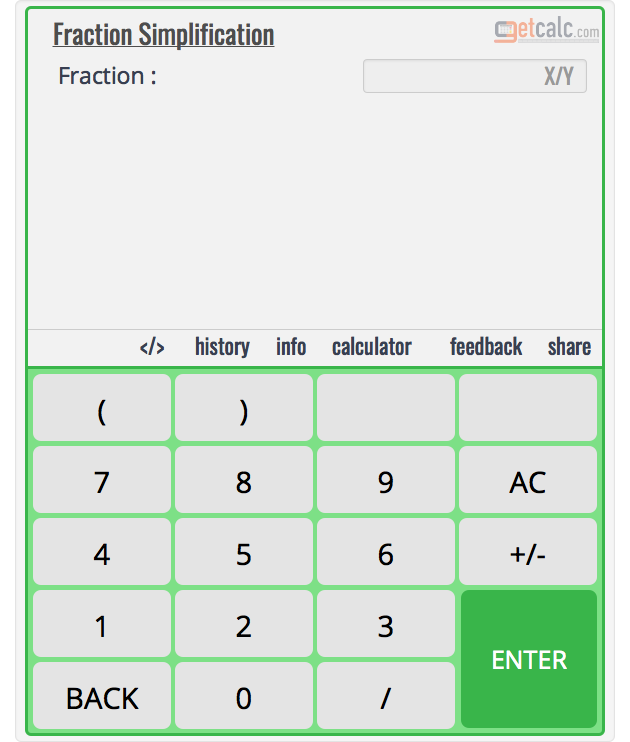 Fraction Simplification Calculator