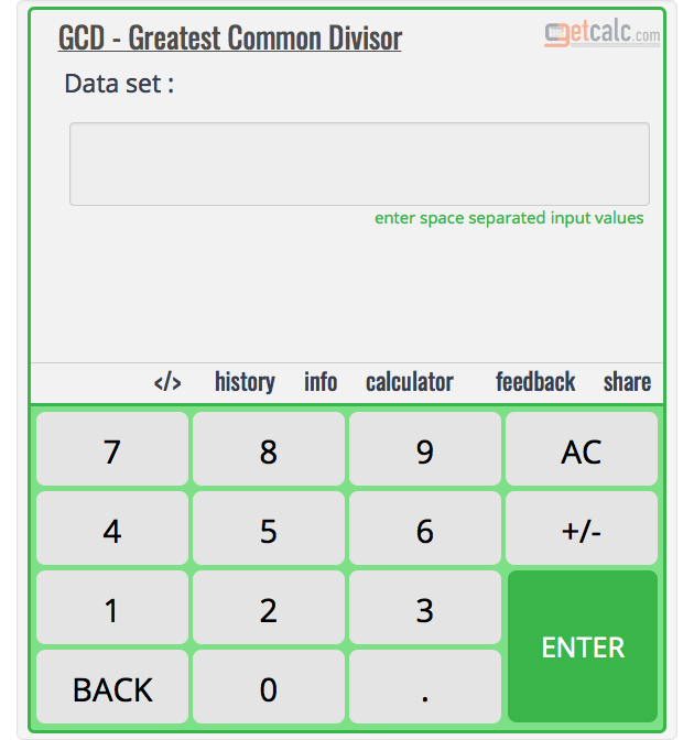 GCF - Highest Common Factor Calculator