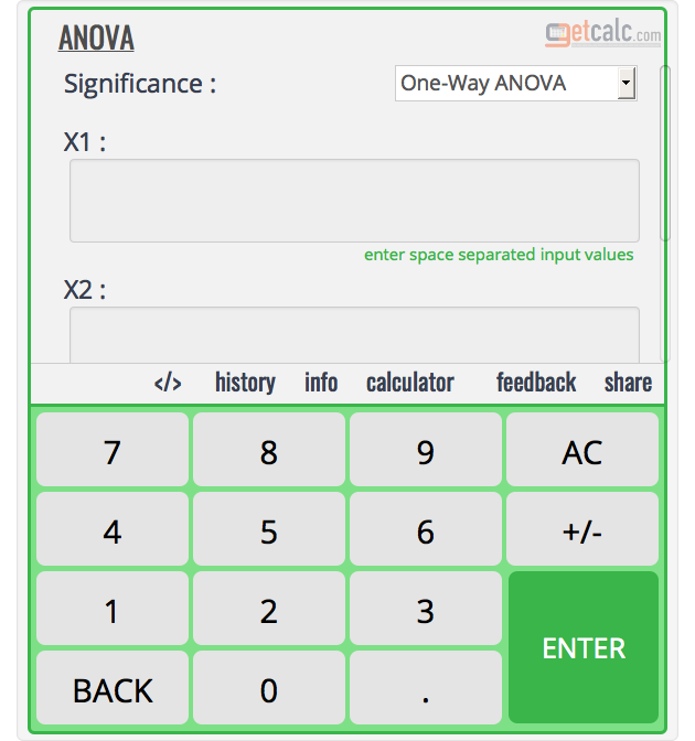 One & Two Way ANOVA Calculator