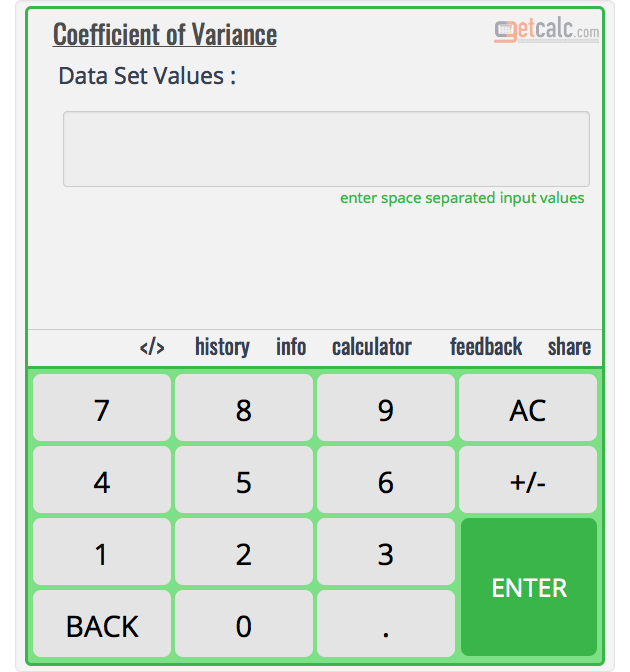 Coefficient of Variance Calculator