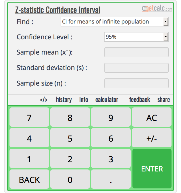 Confidence Interval Calculator