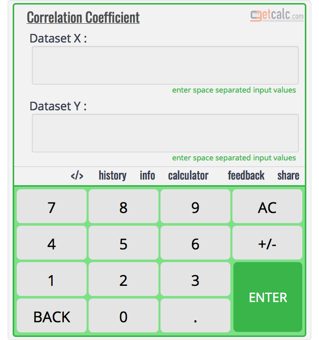Correlation Coefficient Calculator
