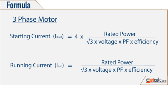 3 phase ac induction motor starting, running & full-load current formulas