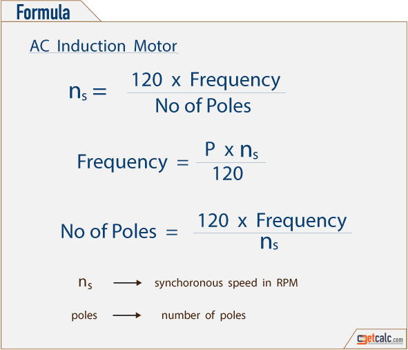Formula to calculate synchronous motor speed, frequency & number of poles