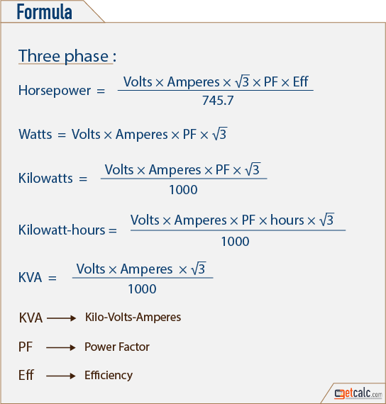 Electrical Formula Calculator : Ac power calculator