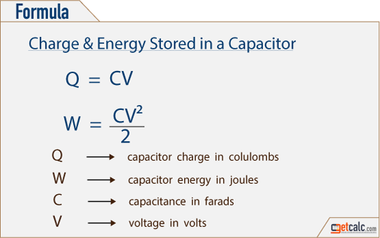 Electrical Formula Calculator : Capacitor charge energy calculator