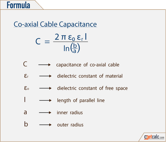 Formula to calculate co-axial cable capacitor capacitance