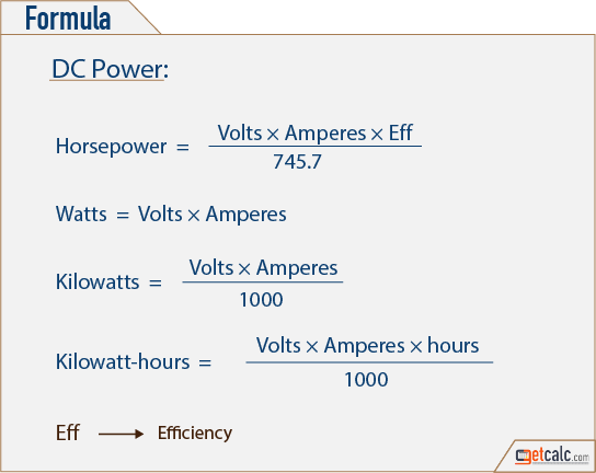 Electrical Formula Calculator : Dc power calculator
