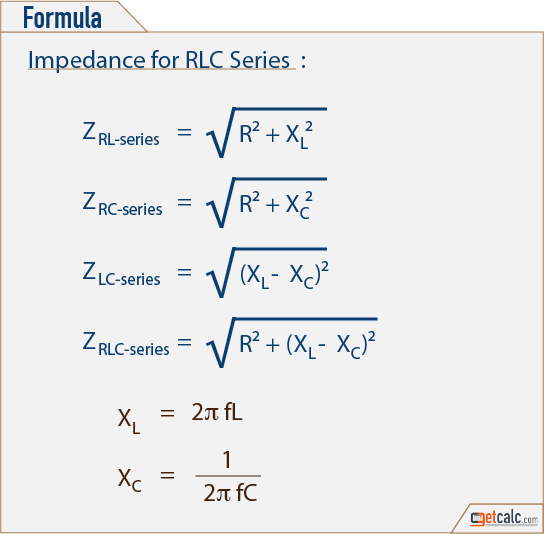 Circuito Rlc Serie Formulas : Rlc circuit equivalent impedance calculator