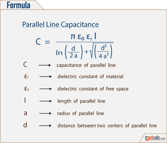 Formula to calculate parallel line capacitance