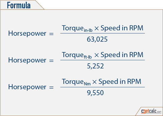Torque horsepower conversion calculator.