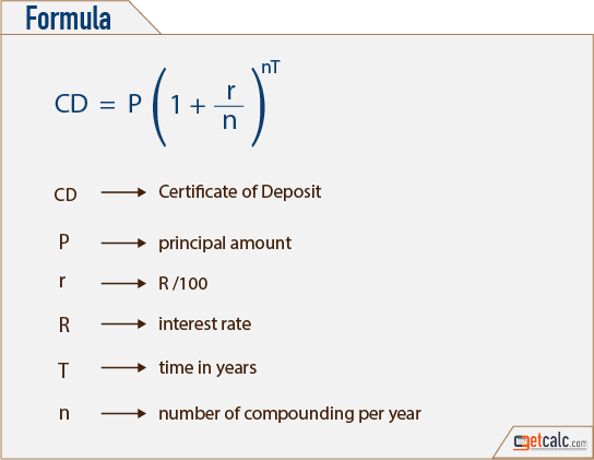 deposit formula  CD - Certificate of Deposit Calculator