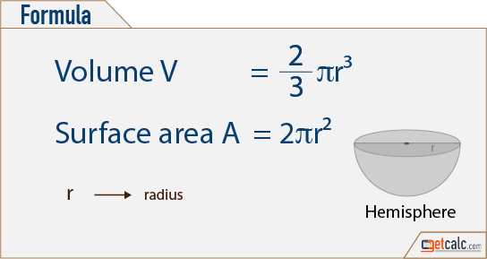 hemisphere formulas to calculate volume & surface area