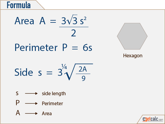 hexagon area, perimeter & side calculation formula