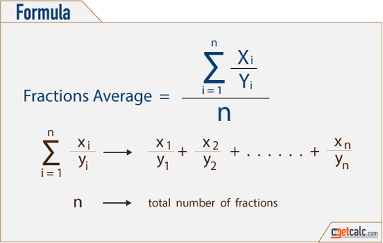 Average of fractions formula