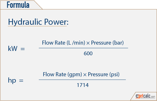 hydraulic or fluid power formula