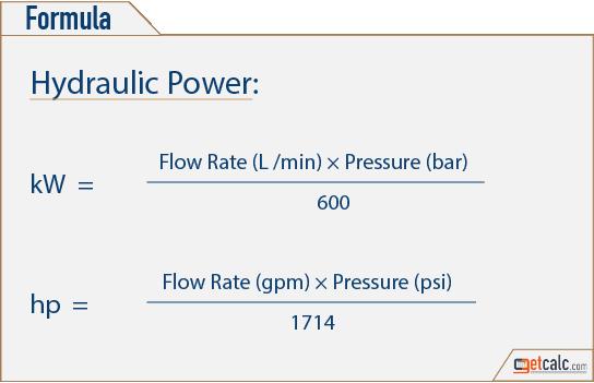 Hydraulic Power Calculator