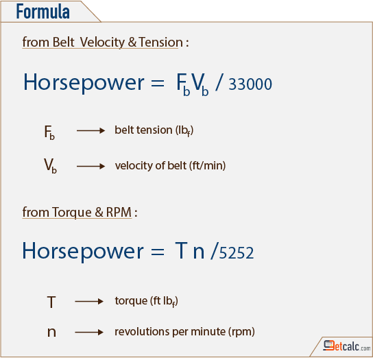 horsepower (hp) of an combustion engine formula