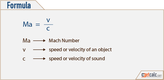 Mach number (speed of an object relative to speed of sound) formula