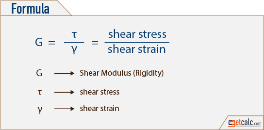 shear modulus (γ) - rigidity of material formula