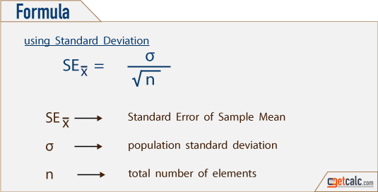 statistics formula to estimate standard error of sample mean x̄