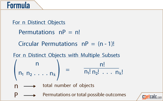 formula to find permutations (nPr) for n distinct objects with multiple subset
