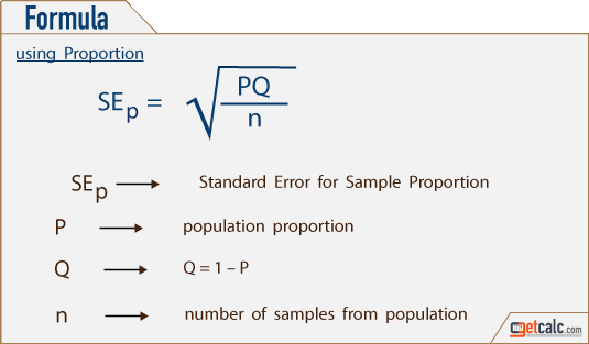 Standard Error Se Calculator For Mean Proportion