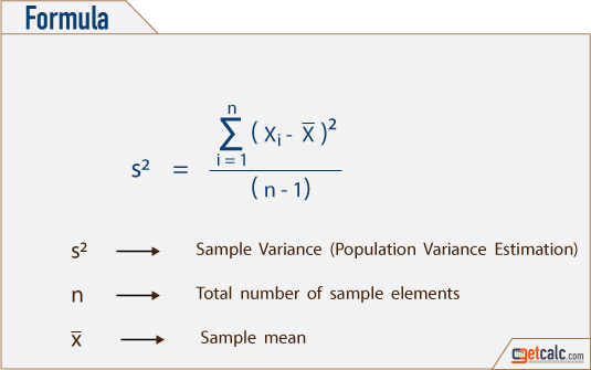 variance formula to estimate variability or uncertainty of sample data set from its mean