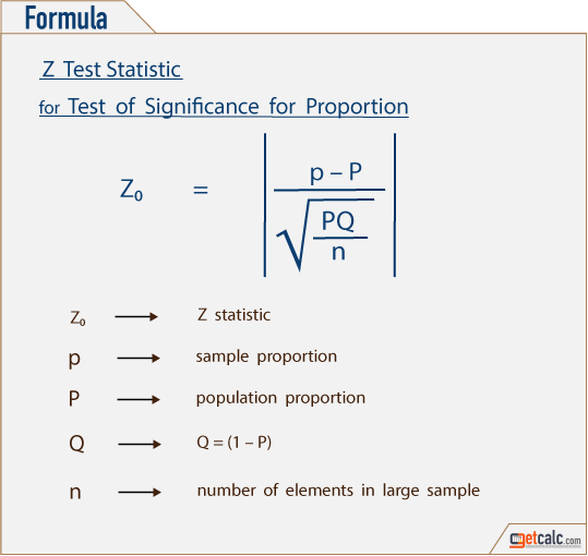 formula to estimate Z-statistic for sample proportion