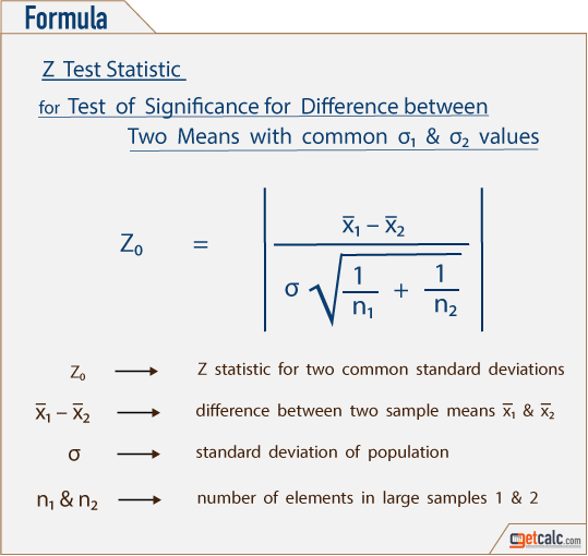 formula to estimate Z-statistic for difference between two sample means with common standard deviations